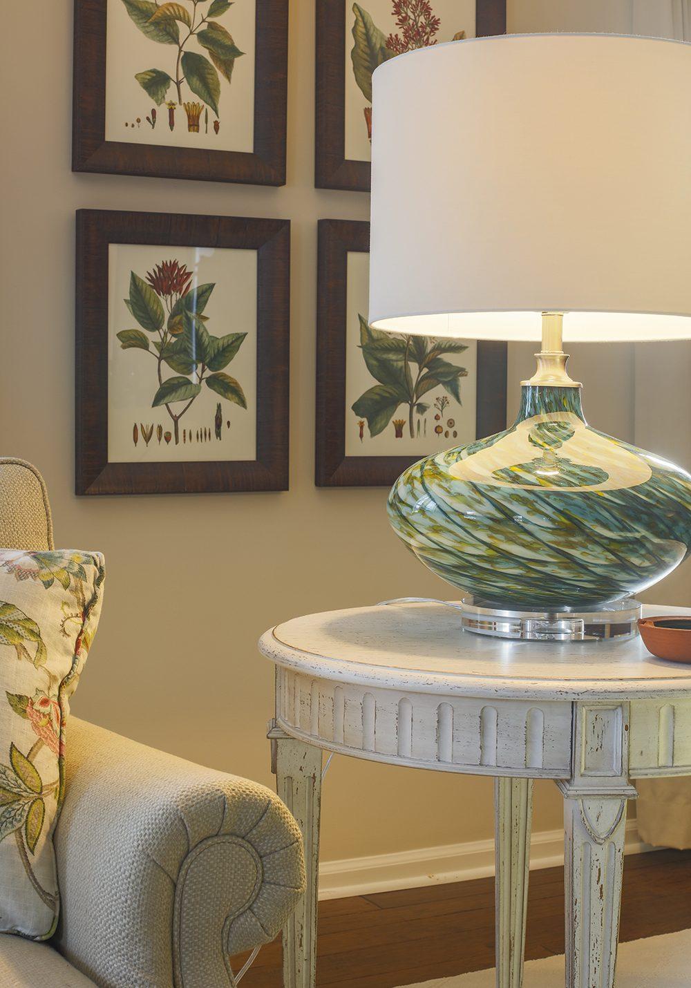 Blue Green Glass Lamp and Botanical Framed Art