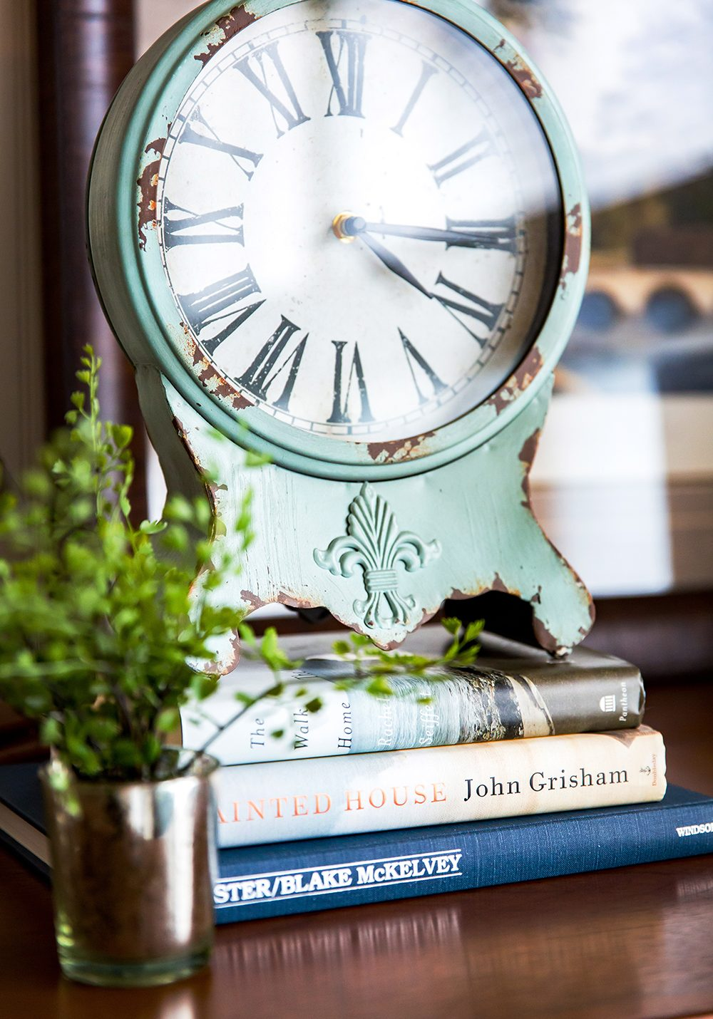 Vintage Clock with Books